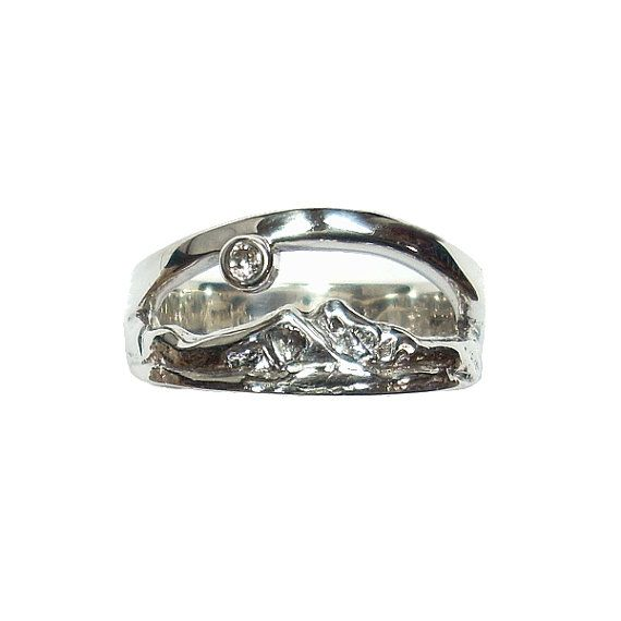 Twin Peaks Ring Diamond Wedding Band Mountain Long S Peak