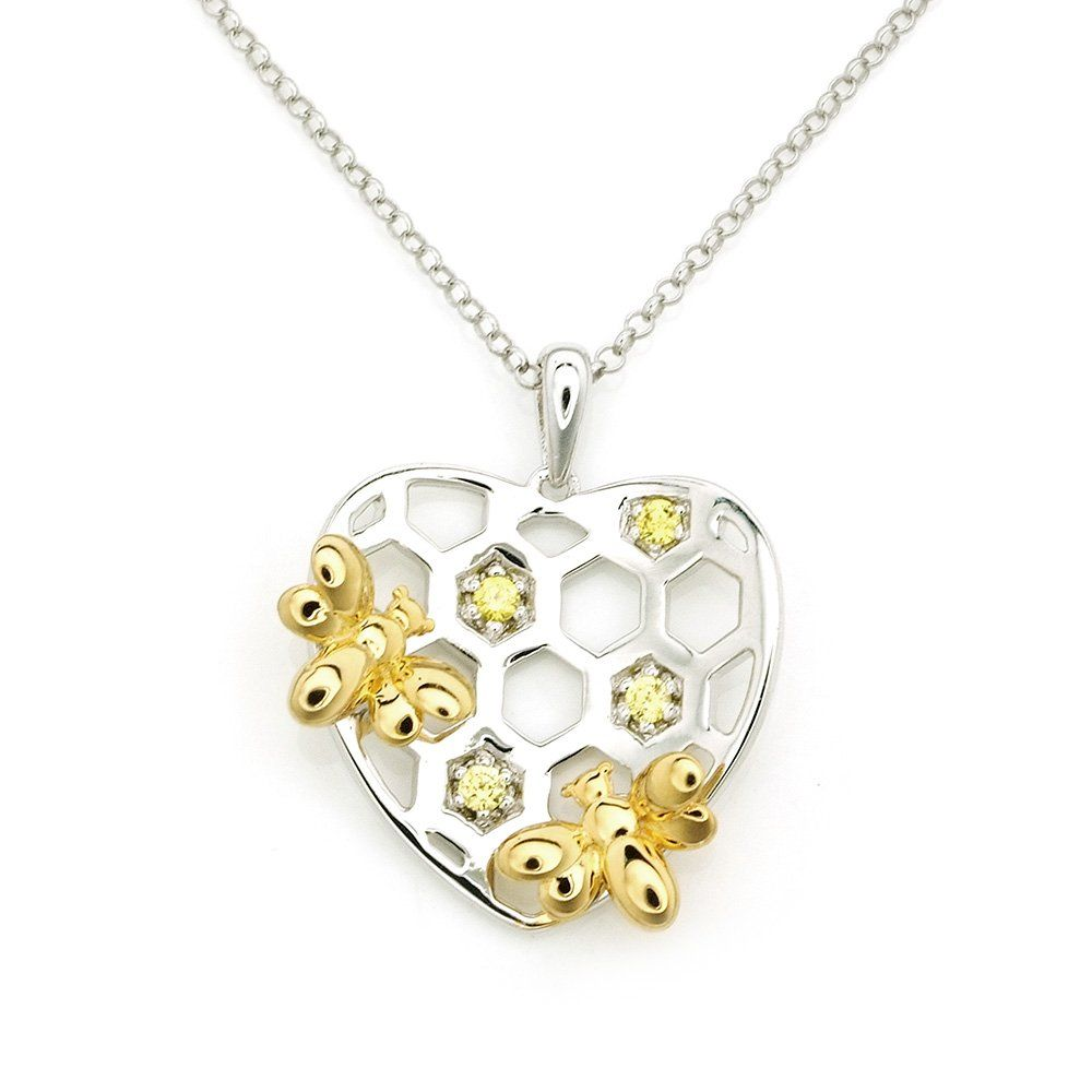 Silverkings sterling silver yellow cz hearty honey bee necklace