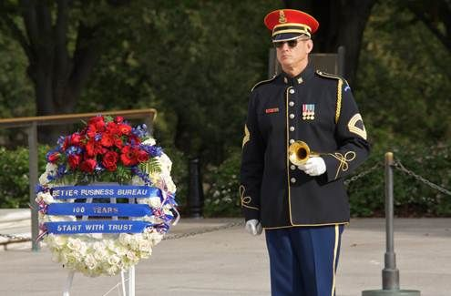 As part of our 100 year celebration, we were honored to be able to lay the wreath at the Tomb of the Unknown Soldiers.