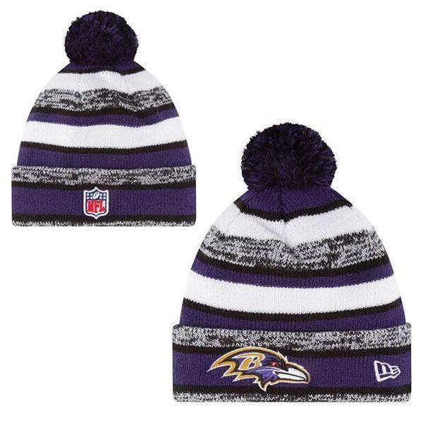 Mens   Womens Baltimore Ravens New Era NFL On-Field Sport Sideline Cuffed  Knit Pom Pom Beanie Hat - Purple   Grey   White b43cc39bf