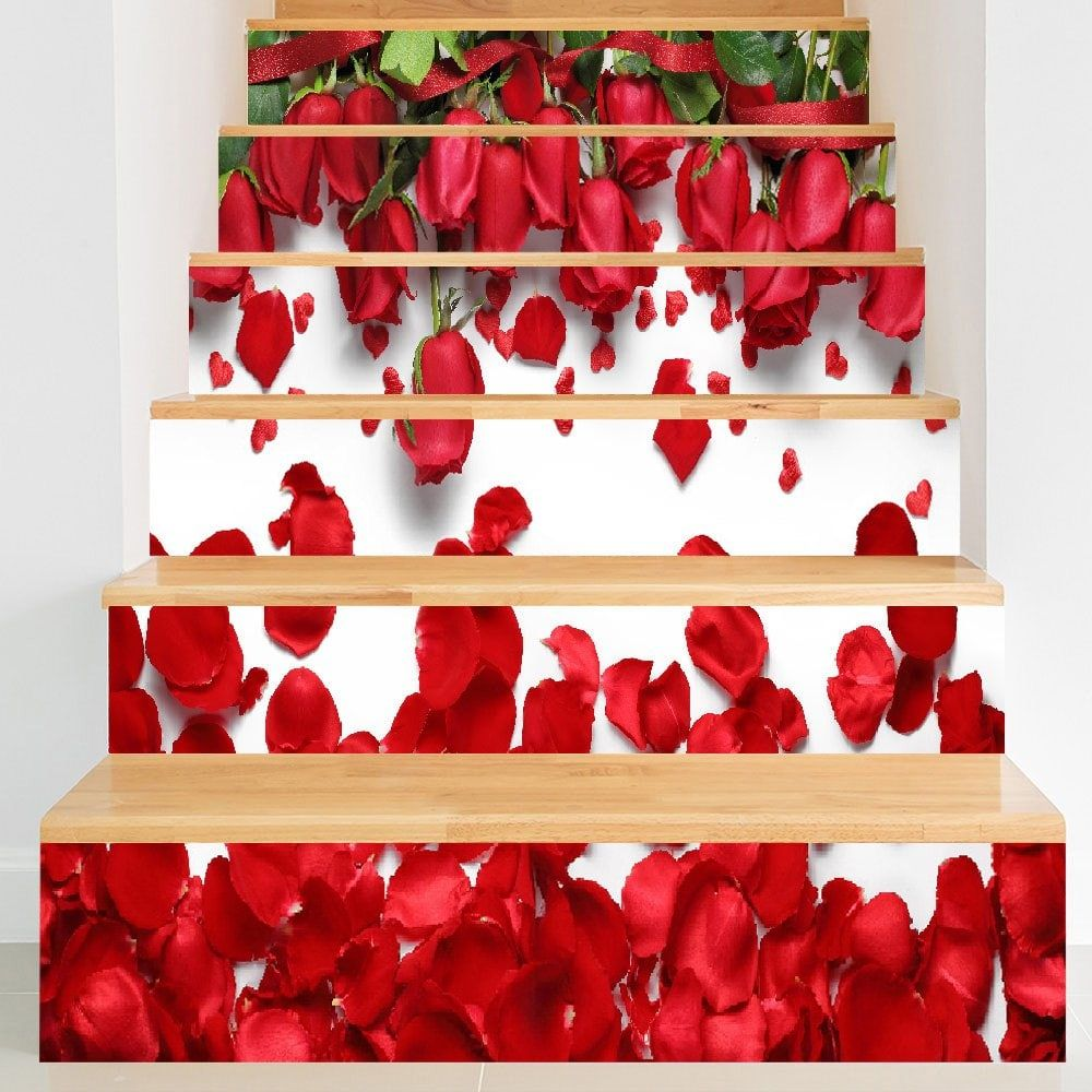 Valentine's Day Roses Petals 3D Printed DIY Stair Stickers