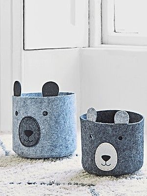 Two Felt Bear Storage Bags