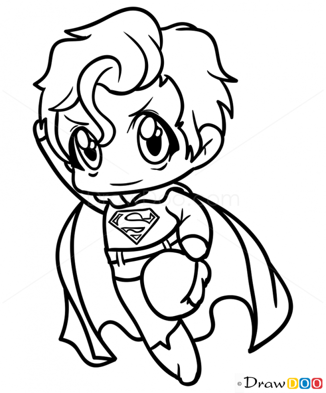 How To Draw Superman Chibi Dibujos Superheroes Dibujos Y Como