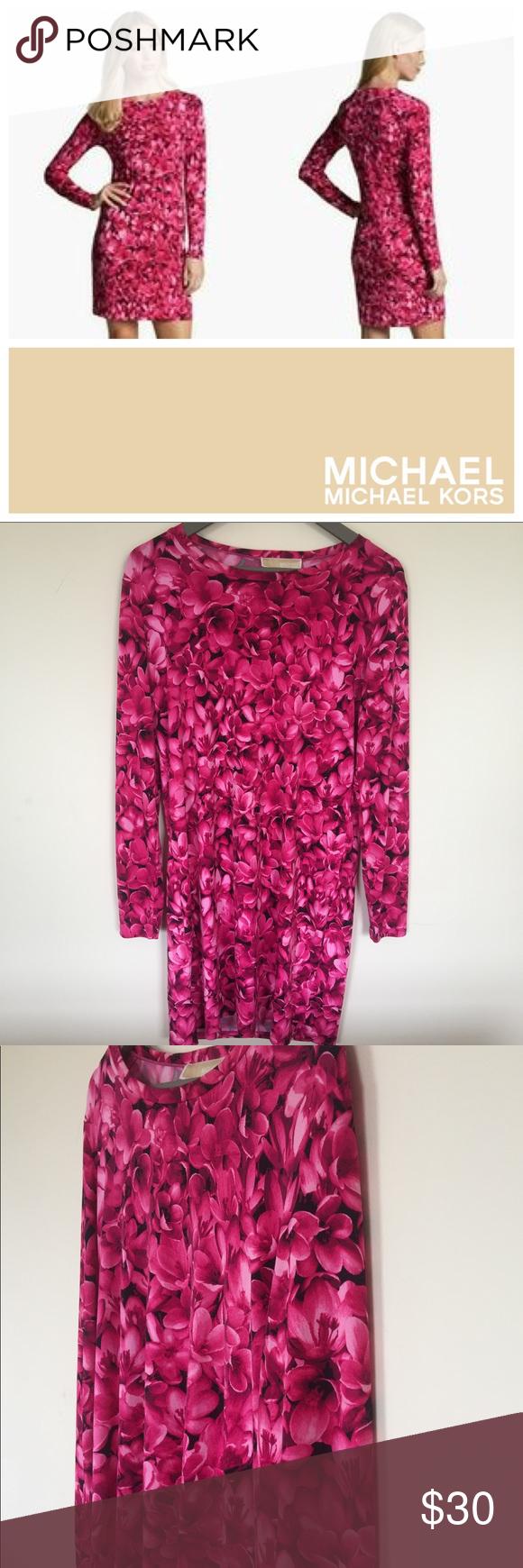 Soldmichael michael kors floral shift dress spandex fabric