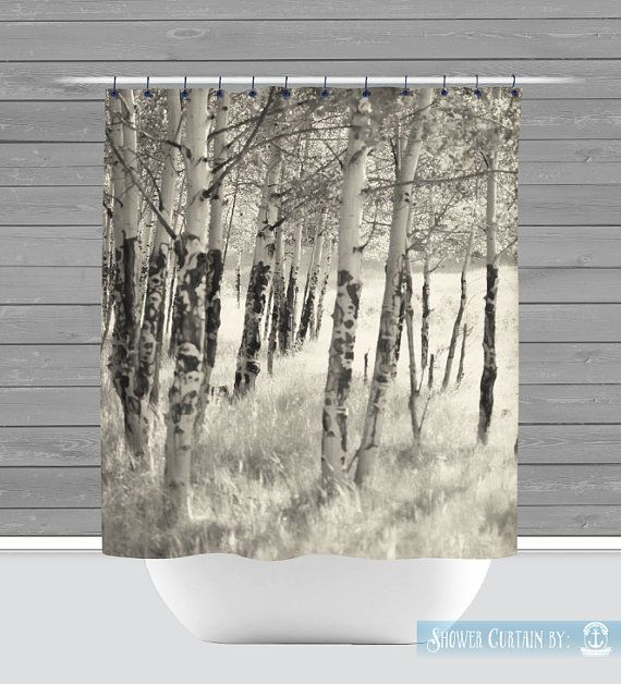 Birch Trees Shower Curtain Rustic Nature Americana Made In The