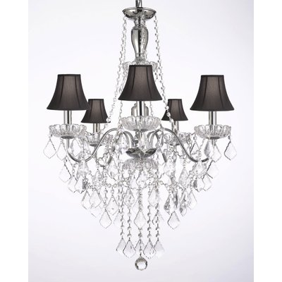 6 light Leafy Antique White Crystal Chandelier, Vintage