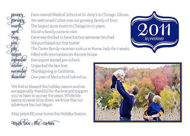 Put your family letter on the back of your Christmas card! Good idea if you can fit info on 8 ...