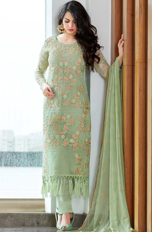 ad9c876240 Pastel Green Designer Embroidered Organza Party Wear Pant Suit ...