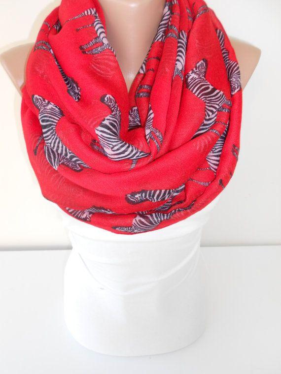7830be10c20 Soft Cotton Scarf Zebra Red Scarf Shawl Oversize by ScarfClub ...