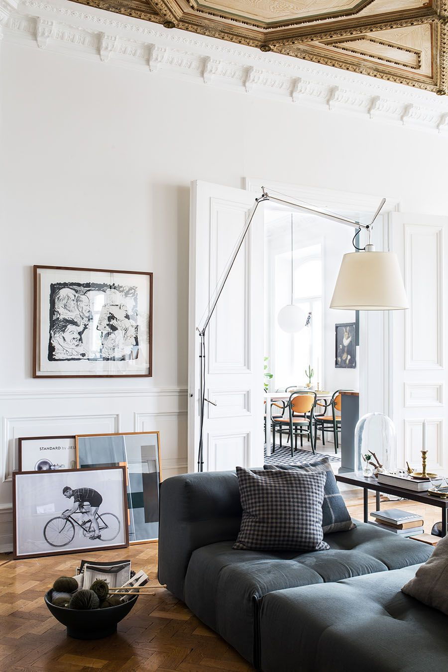 Scandinavian apartment, historical interior, home decor living room ...