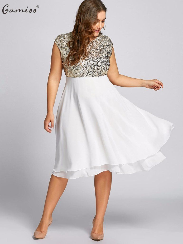 ff81fa52f37 Gamiss Women Flounce Plus Size Dress Sequin Sparkly Dresses Cocktail Short  Sleeves Party Ball Gown Knee-Length