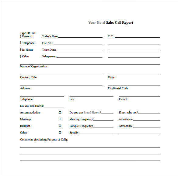 Sales Call Reports Templates Free (3) - TEMPLATES EXAMPLE ...