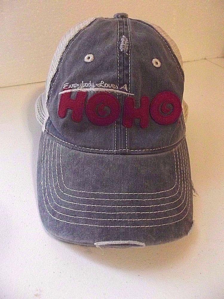 86cab88660e Hostess HO HO Hat Cap Snap Back Mesh Trucker Destroyed Distressed Denim   Hostess  Trucker
