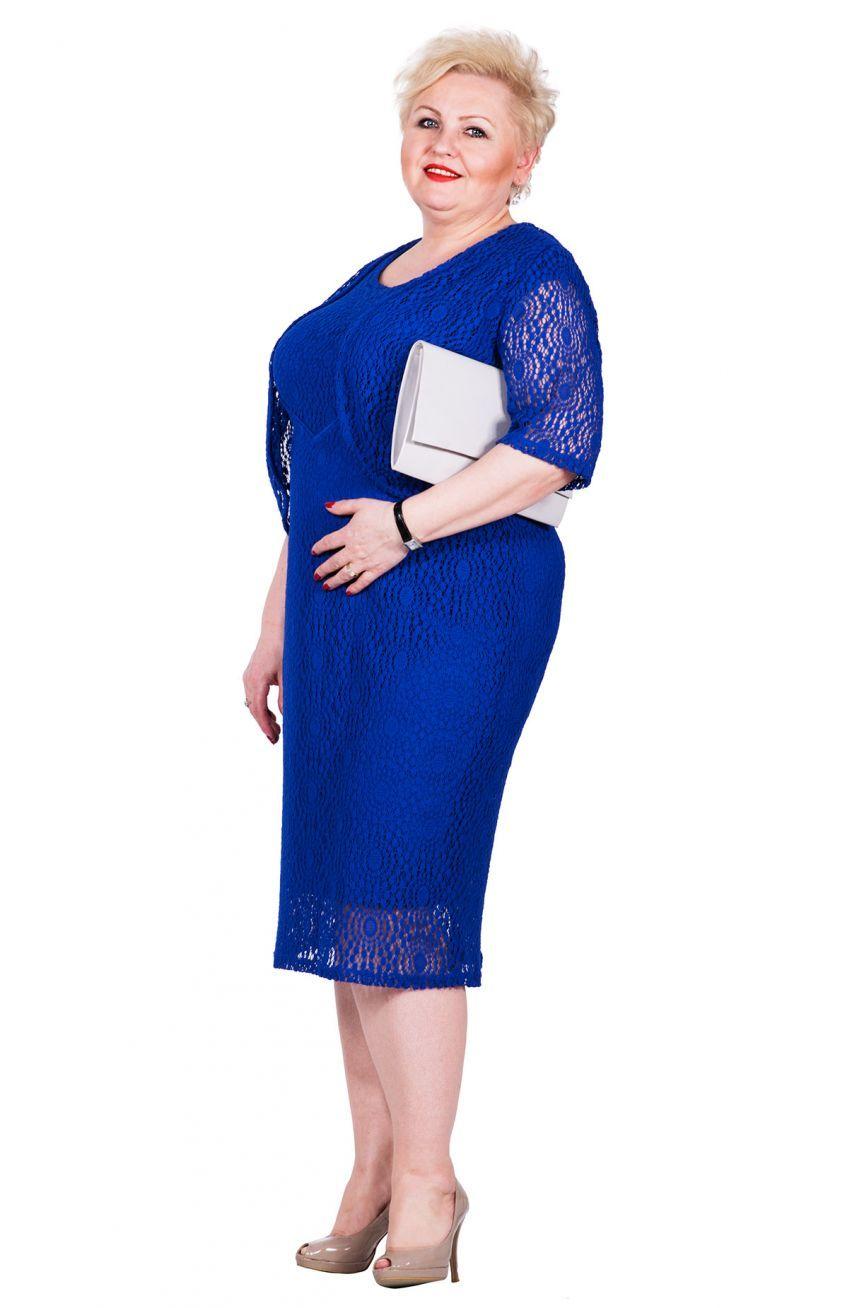 21f0710338 Szafirowa koronkowa sukienka z bolerkiem - Modne Duże Rozmiary