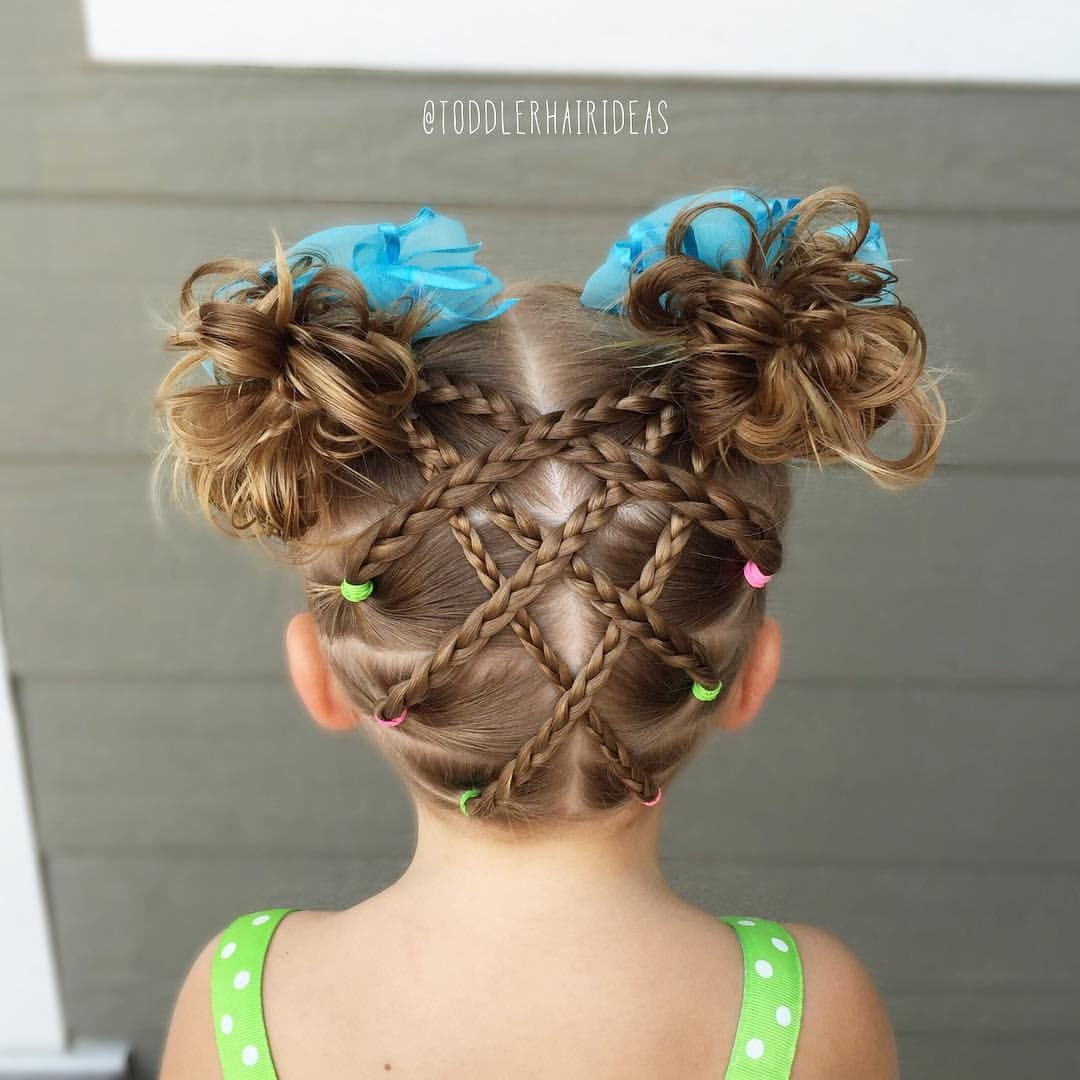 Crossed Braids And Messy Buns Toddler Hair Ideas Girl