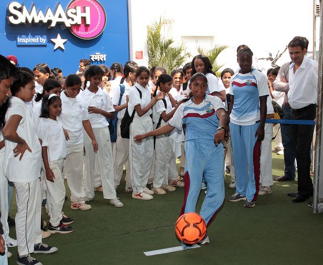 West Indies women cricket player Anisa Mohammed play football during the promotion of ICC Women World Cup at Star Sports SMAaASH, a interactive sport hub in Mumbai, India on February 6, 2013.