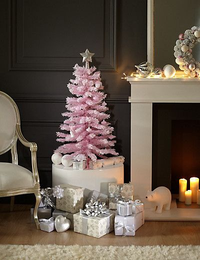 3ft Snow Effect Pink Christmas Tree M S