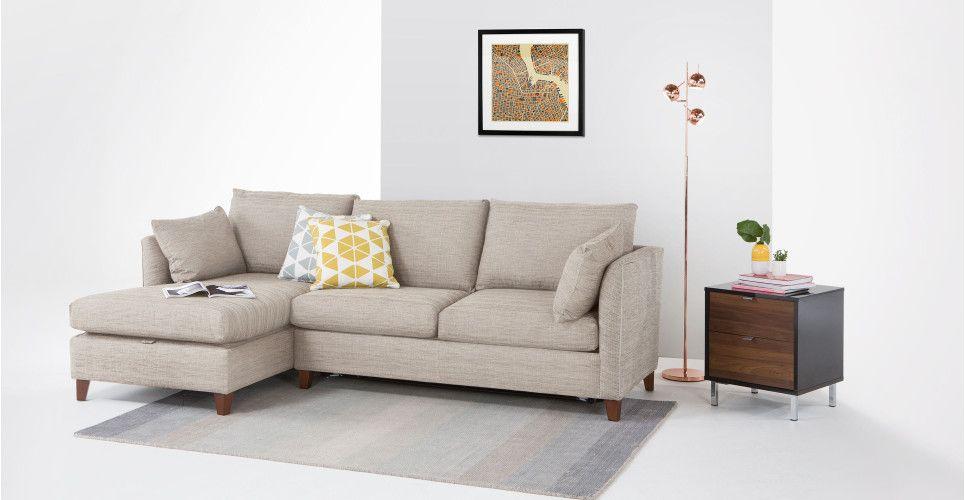 Bari, un canapé-lit d'angle gauche avec compartiment de rangement, beige opale   made.com