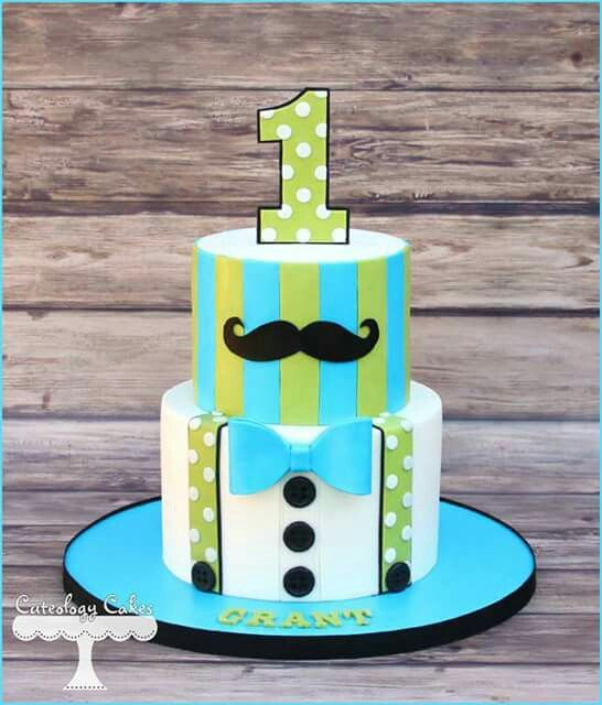 Stupendous Little Man Cake For A First Birthday With Images Little Man Birthday Cards Printable Trancafe Filternl