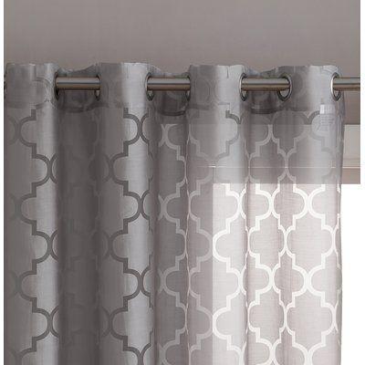 Andover Mills Kuhlmann Burnout Geometric Semi Sheer Grommet Curtain Panels Curtain Color Gray Size 54 W X 84 L Grommet Curtains Panel Curtains Curtains