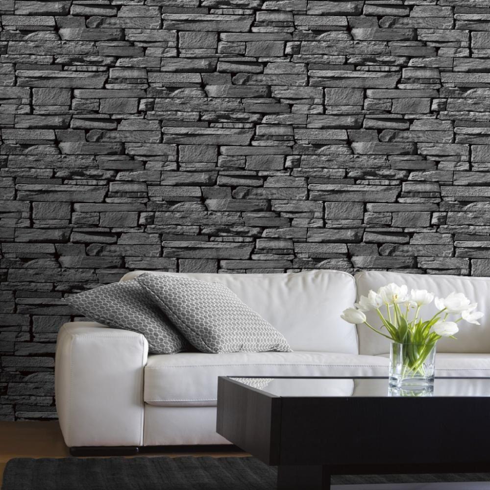 Grandeco Grandeco Dax Dry Stone Wall Slate Brick Effect