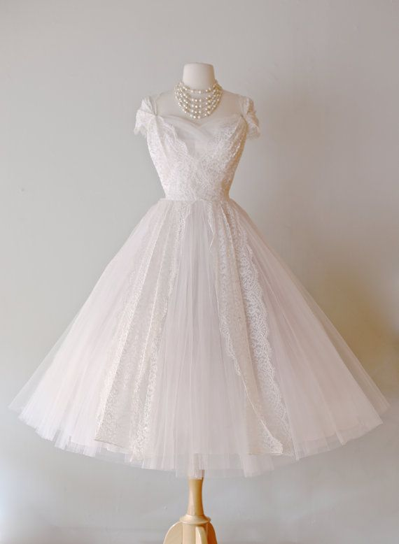 Beautiful 1950s Lace Tea Length Wedding Dress by by