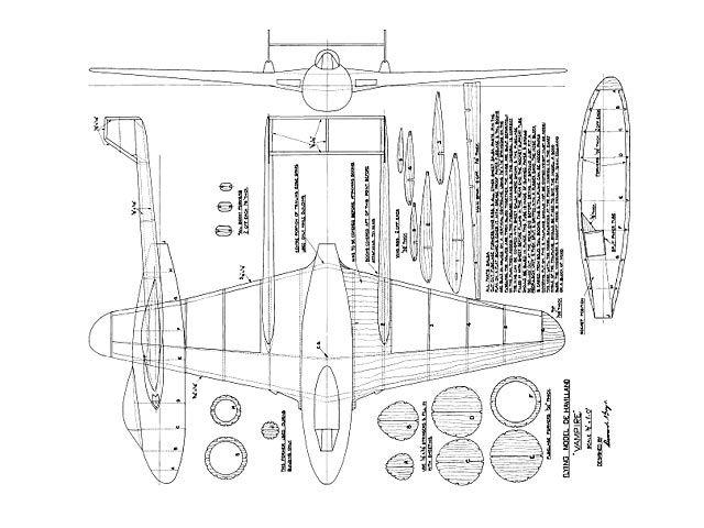 Dh Vampire Plan Thumbnail Balsa Wood Model Airplane Plans
