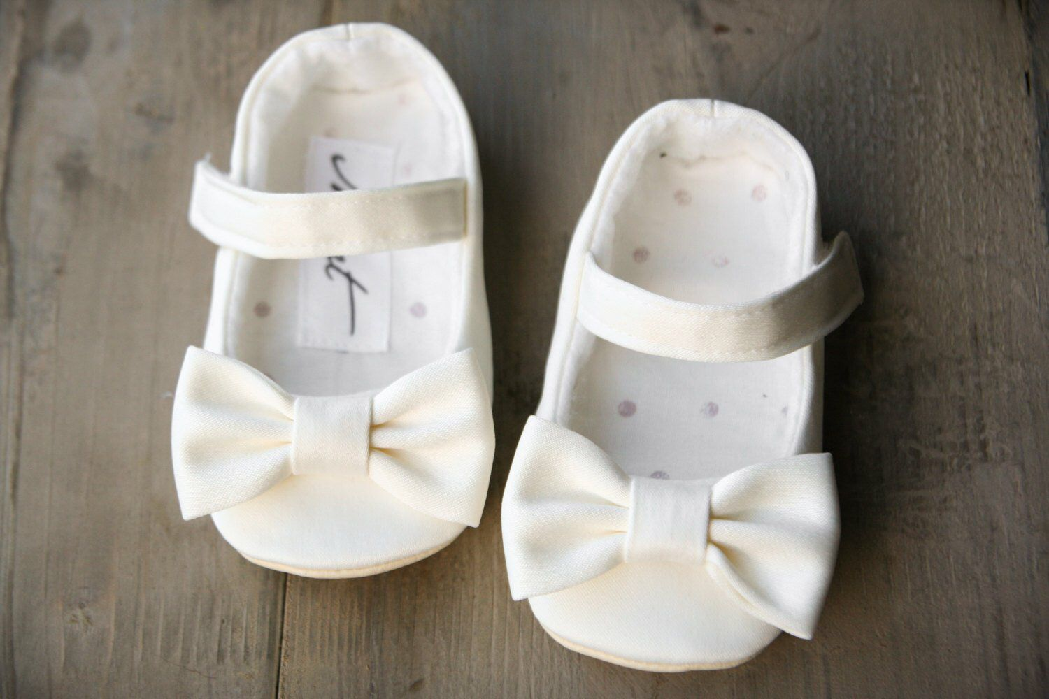 White Flower Girl Shoes White Christening Shoes Bow Shoes Ivory
