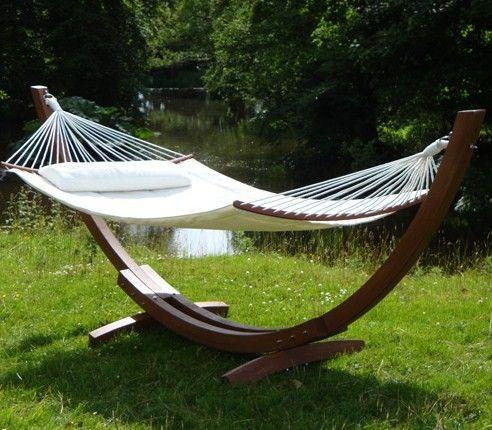 Teak Garden Hammock Frame With Canvas Canopy