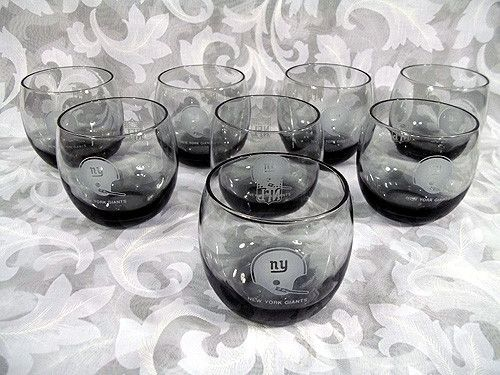 Sold VINTAGE SET OF 8 NEW YORK GIANTS SMOKE-COLORED ROLY POLY GLASSES