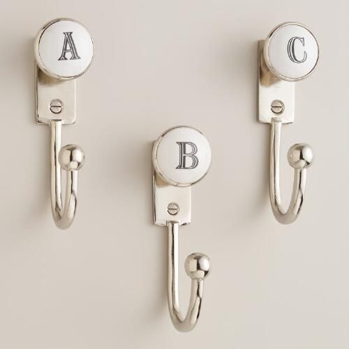 Letter Greetings Captivating Monogram Letter Hooks Whitesilver  Ceramic  Uworld Market .