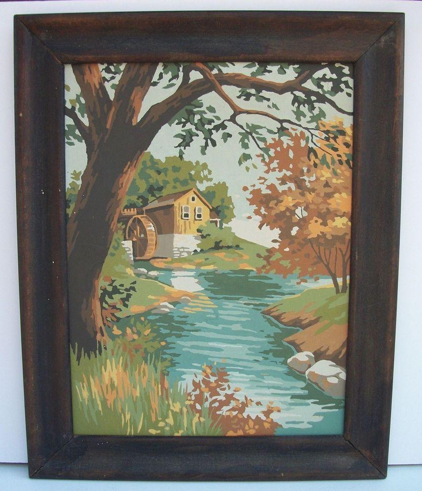 Vintage Paint By Number Autumn Landscape Grist Mill Stream Framed ...