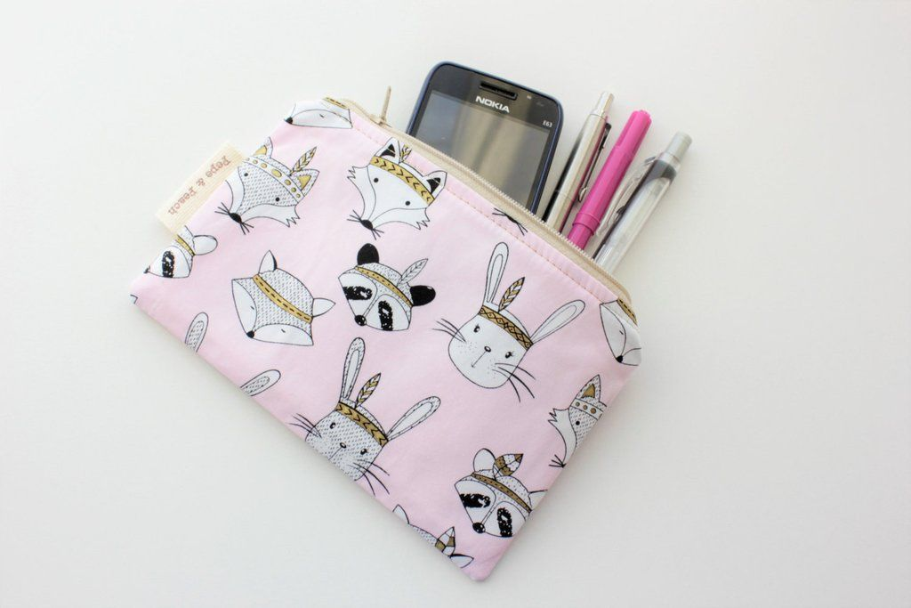 Zip purse, Zip  pouch, Make up bag, Flat, Cute, Tribal Animal, Woodland, Blue, Pink, White