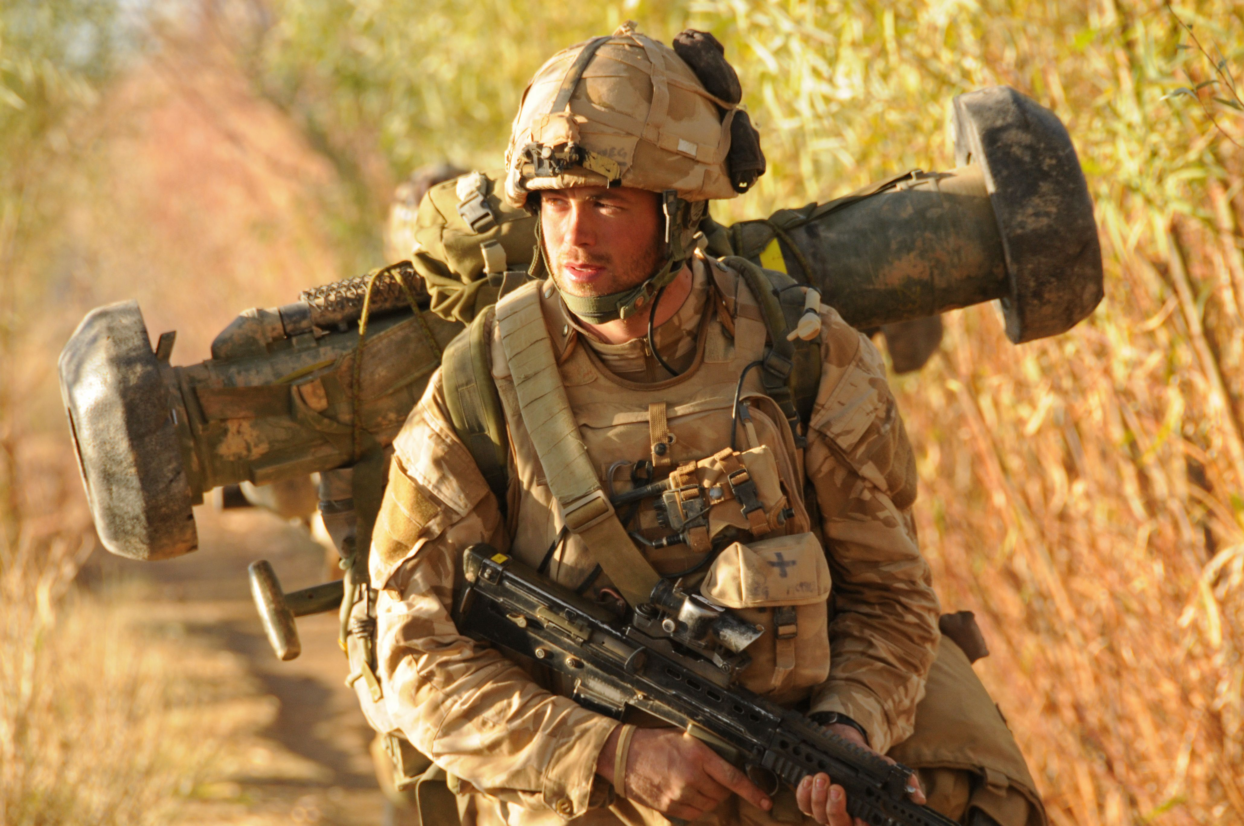 Royal Marines Commando With Javelin Missile Launcher Strapped To His Back During Op Sond Chara
