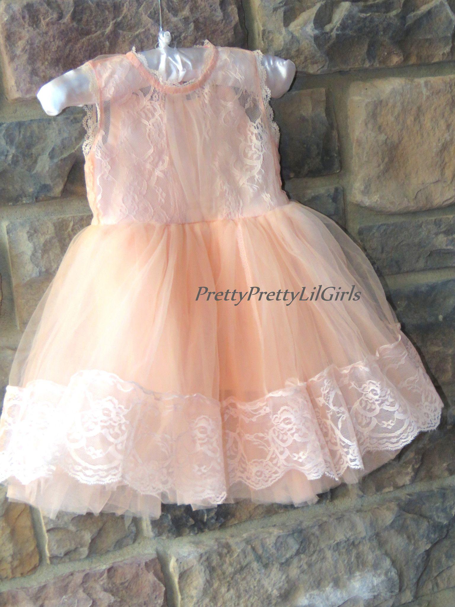 1de1be744 Peach Little Girls Dress- Peach Baby Girl Dress- Toddler Lace Dress ...