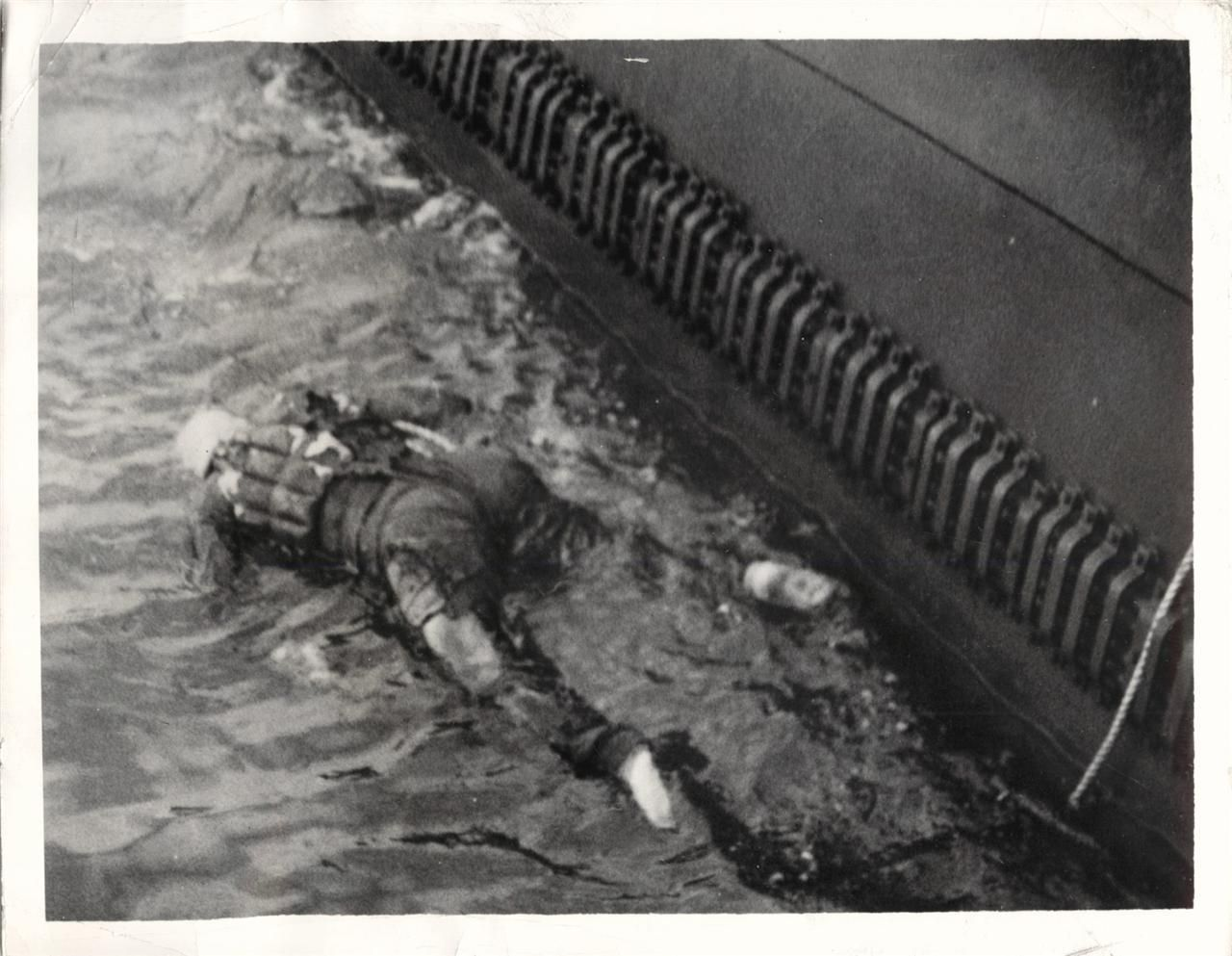 Body Of A Japanese Pilot Floating In The Water After