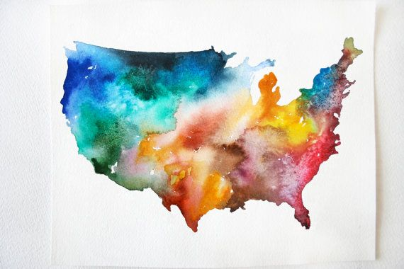 America Map Print, 8x10 USA Watercolor Painting, Colorful