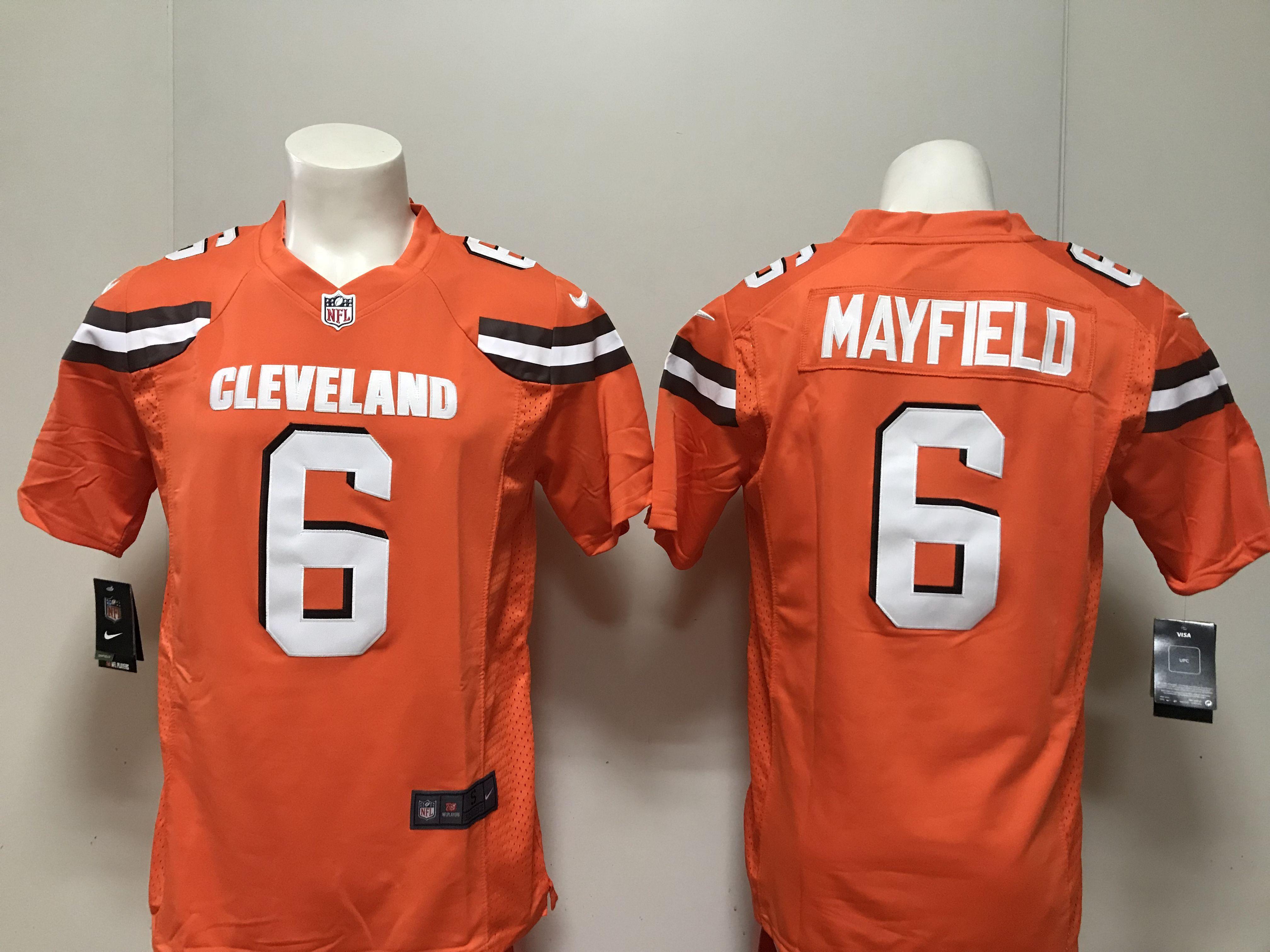 huge selection of ac383 f7a27 Men Cleveland Browns 6 Mayfield Orange Nike 2018 NFL Draft ...