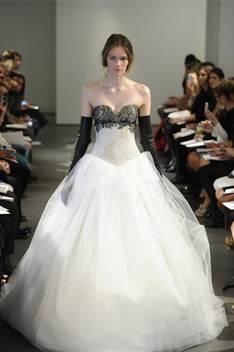 Black Lace Ball Gown With Leather Gloves - Naughty! #weddingdress #weding  #bride