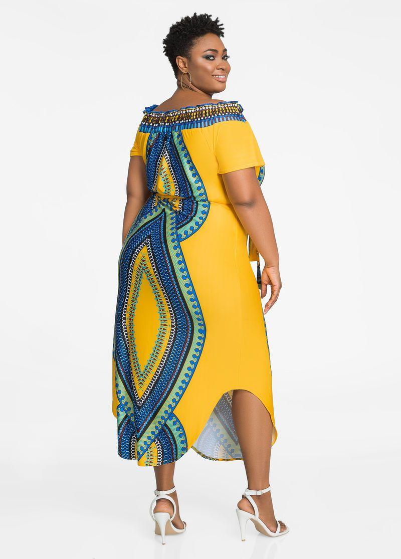 Off Shoulder Dashiki Maxi Dress With