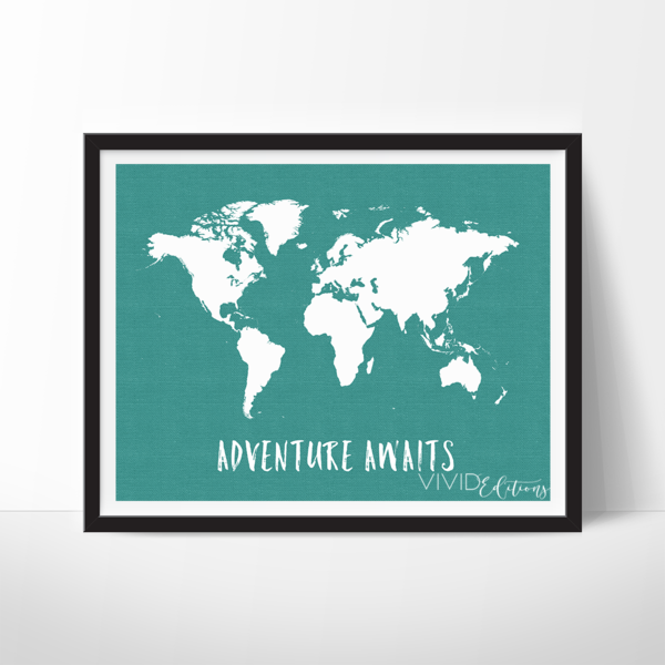 this art illustration features a white world map on a faux linen textured background and