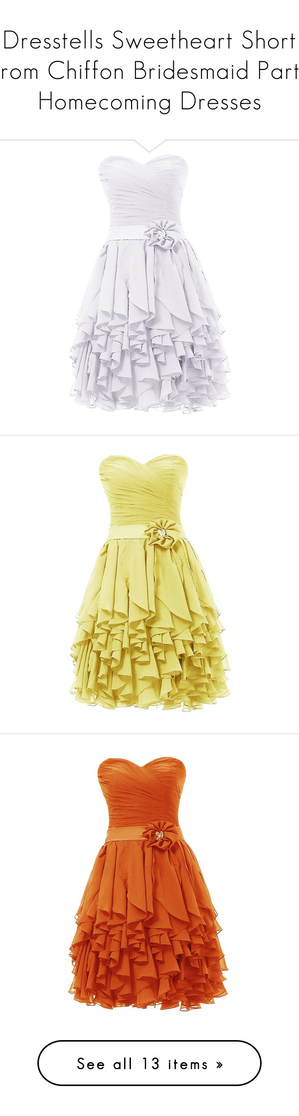 """Dresstells Sweetheart Short Prom Chiffon Bridesmaid Party Homecoming Dresses"" by mackkaz ❤ liked on Polyvore featuring dresses, vestidos, chiffon dress, sweetheart dress, homecoming dresses, bridesmaid dresses, chiffon prom dresses, gowns, yellow and beige cocktail dress"