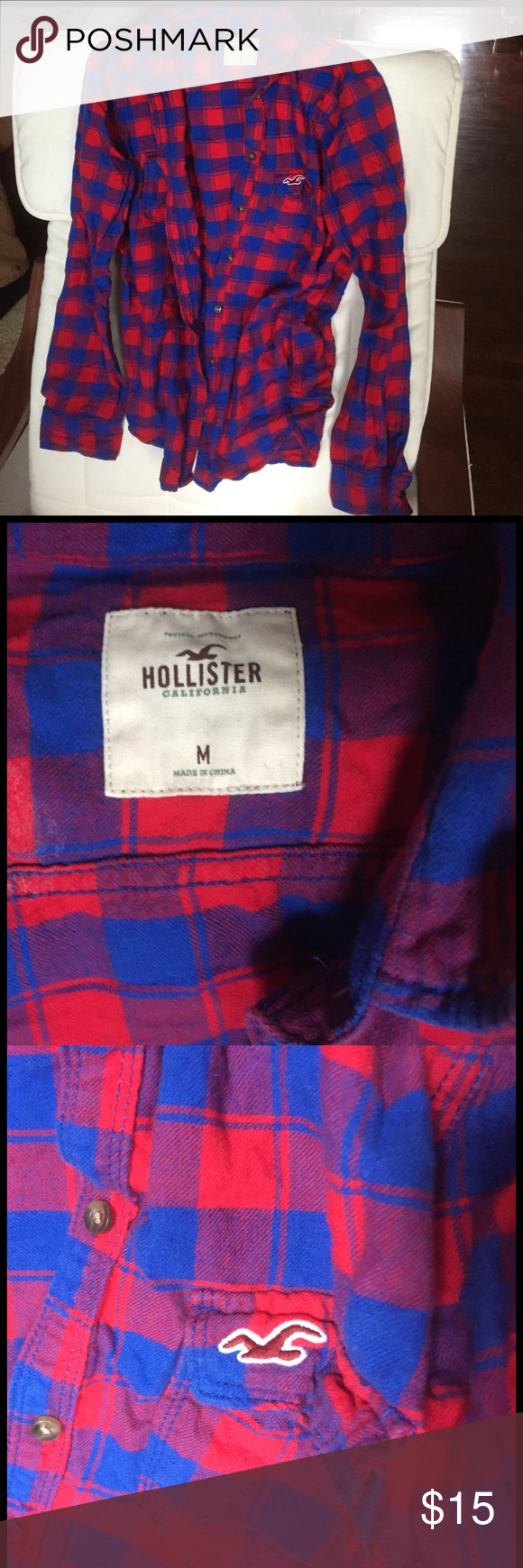 Hollister flannel Excellent condition flannel shirt Hollister Tops Button Down Shirts