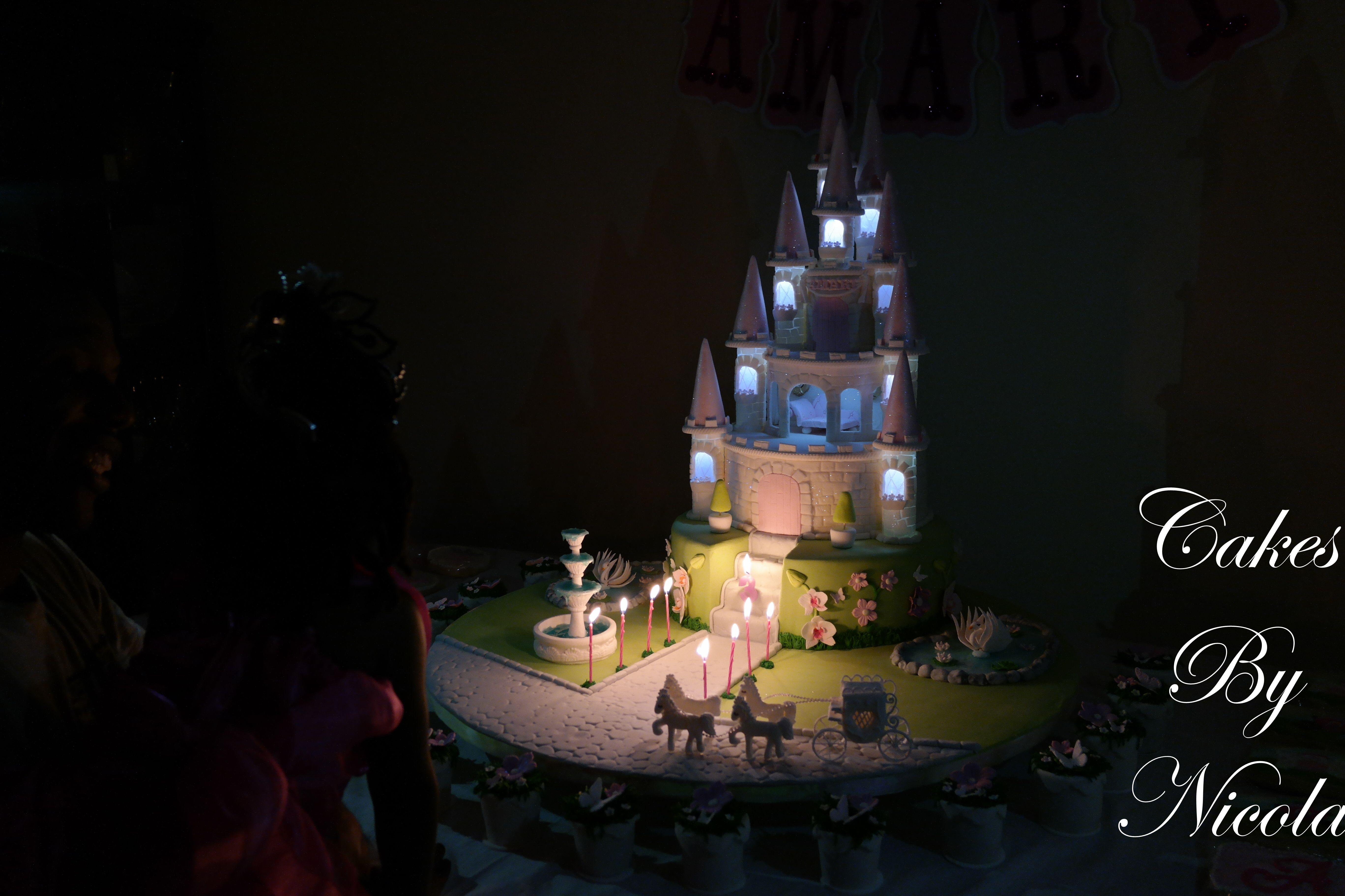Lighting Princess castle cake