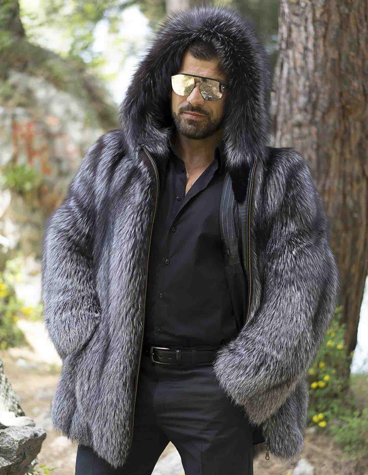 Men S Silver Fox Fur Jacket With Hood Mens Fur Coat Fox Fur