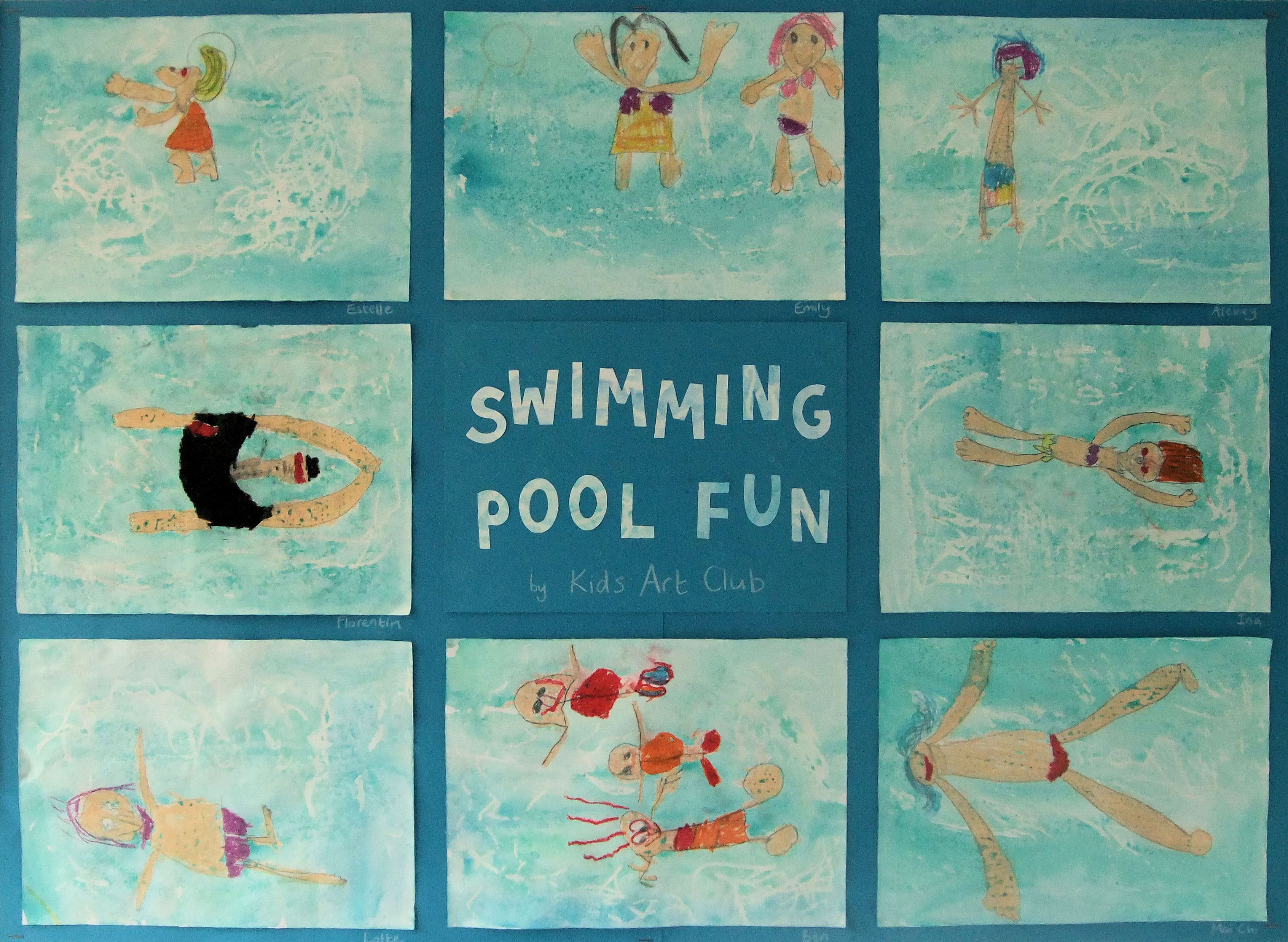 Swimming Pool: Oil Pastel and Watercolour Resist, inspired ...