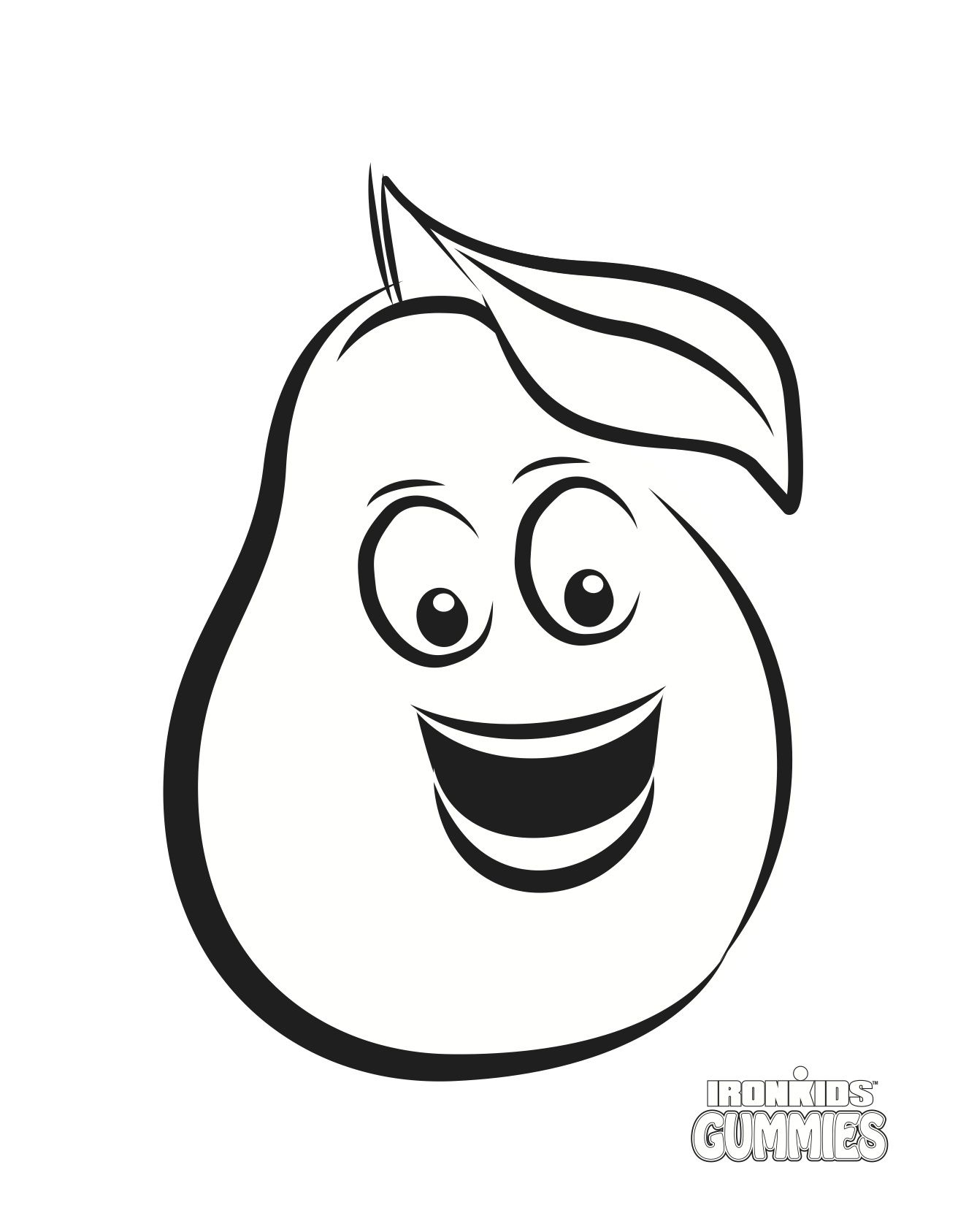 IronKids Fibre Pear Colouring Page Colouring Pages Pinterest