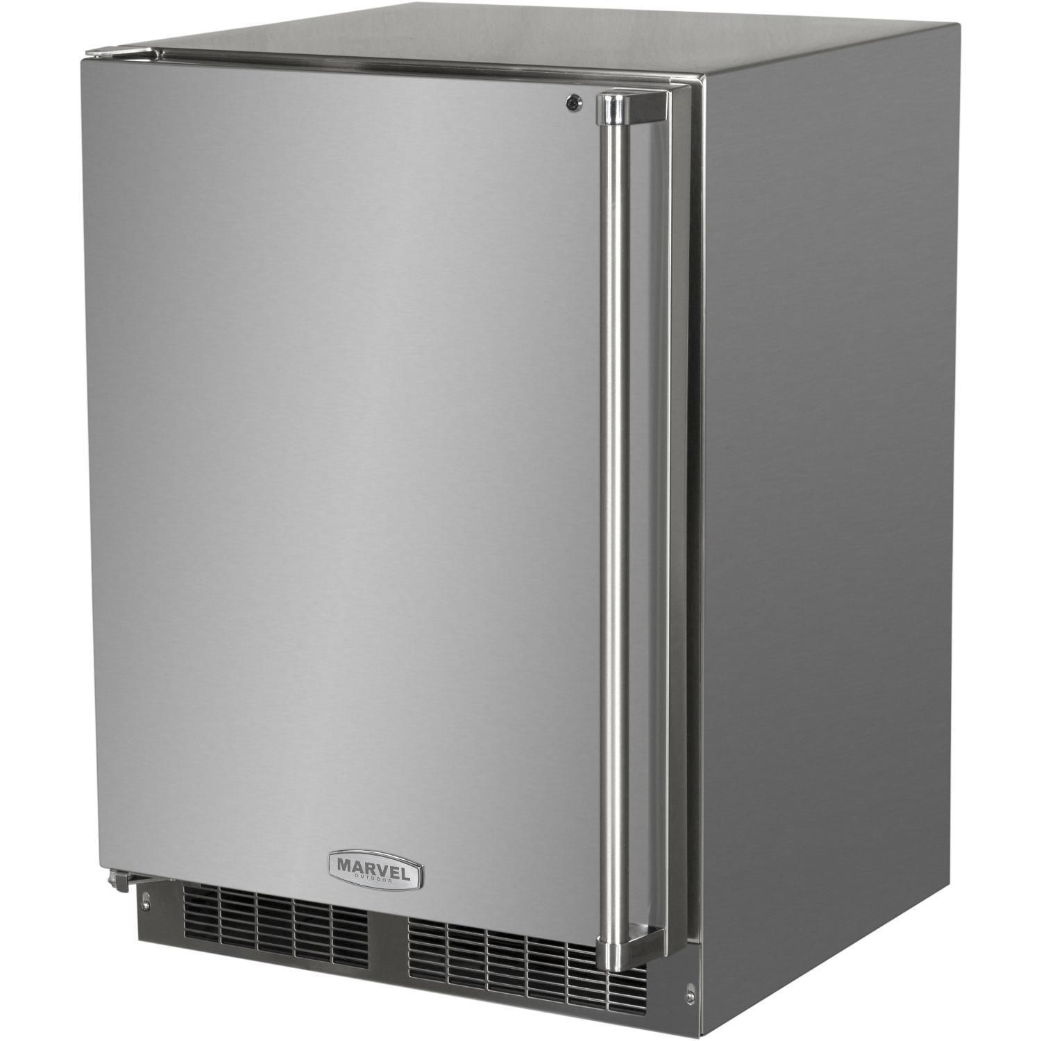 Marvel 24 Inch 4 9 Cu Ft Left Hinge Outdoor Rated Compact Refrigerator Freezer With Ice Maker Mo24rfs2ls Outdoor Refrigerator Upright Freezer Stainless Steel Refrigerator