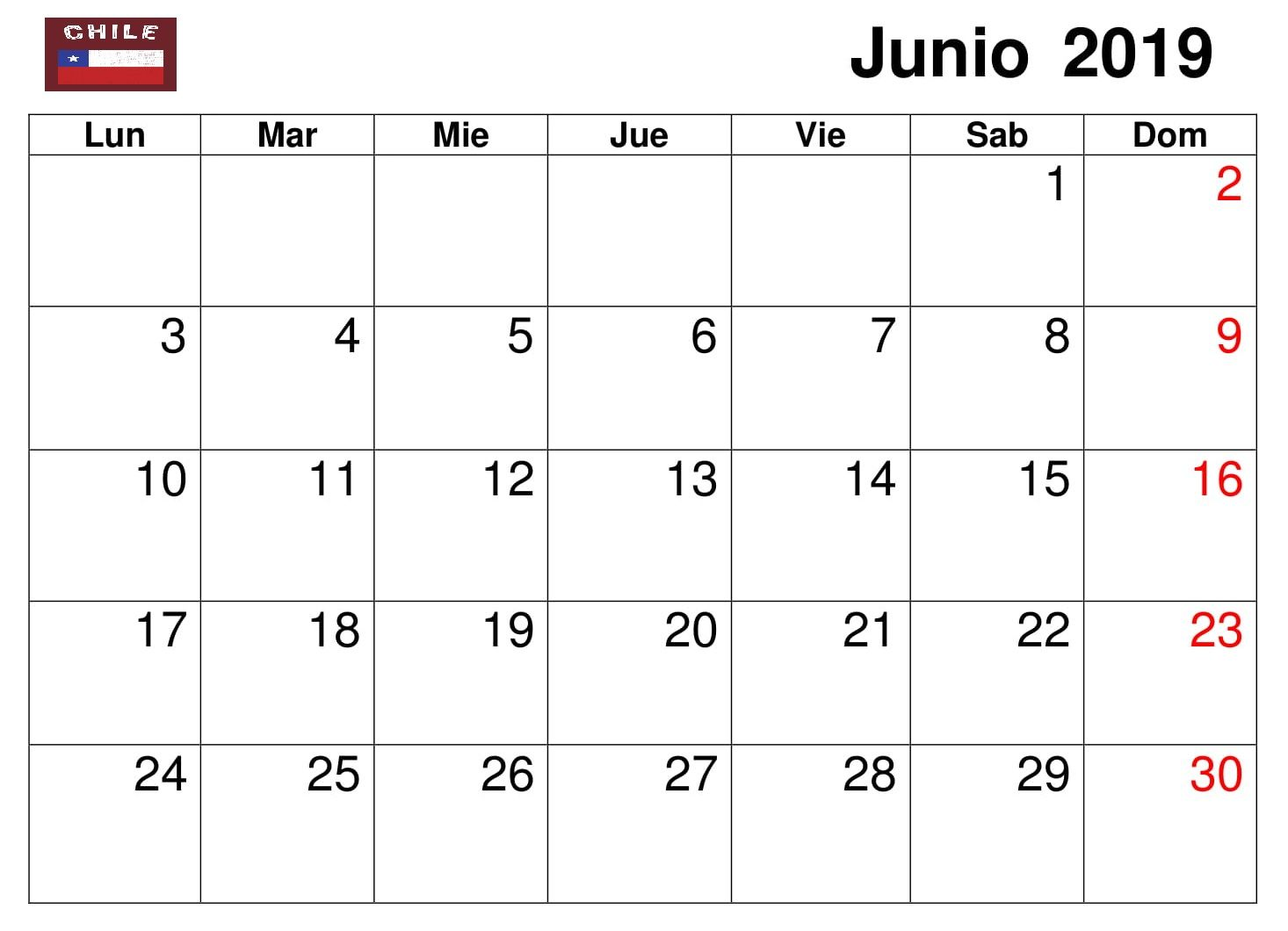 Calendario Mensual Word.Junio Calendario Mensual 2019 Chile Calendario Junio 2019