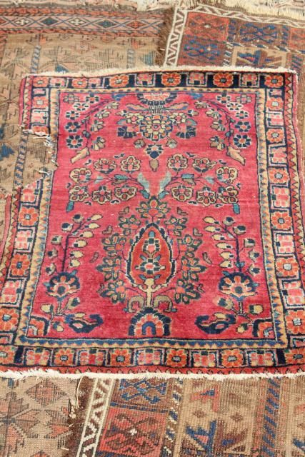 Vintage Or Antique Persian Rugs Small Shabby Wool Carpets To